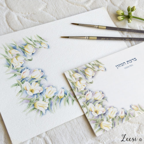 watercolor painting and white tulip bencher