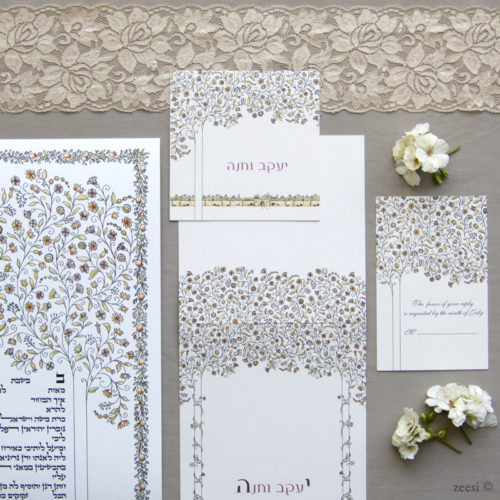 woven branches ketubah and invitations