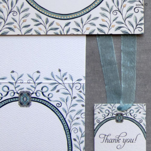teal leaves invitations 3