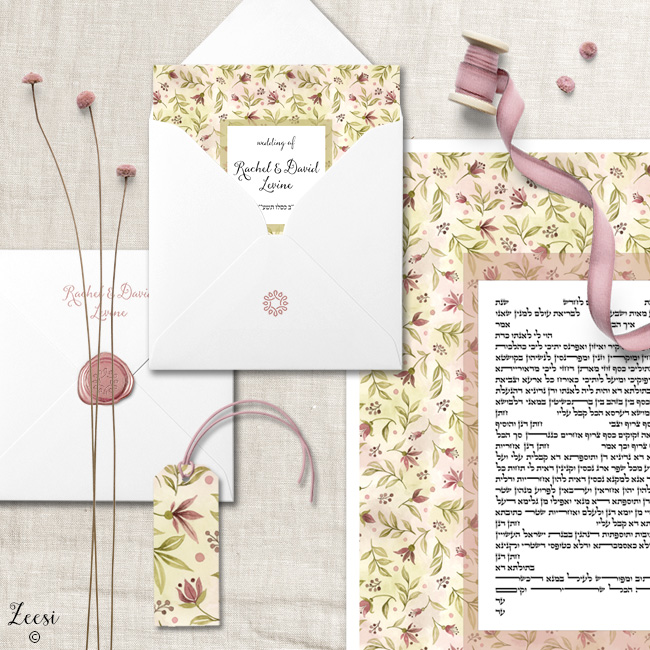 watercolor buds invitations