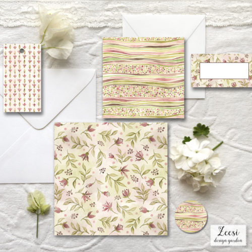 watercolor buds invitations